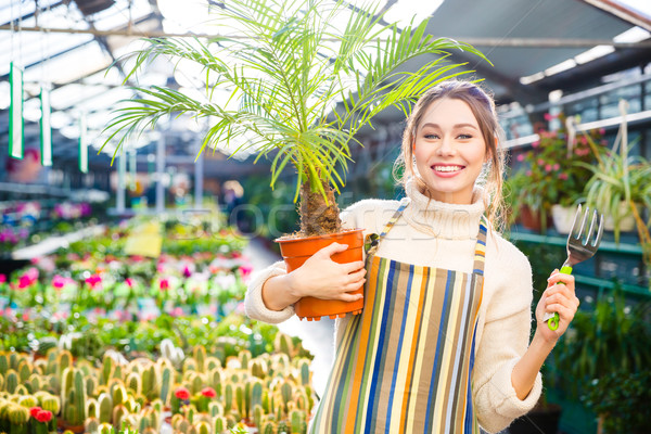 Happy woman gardener holding palm and fork for transplantation plants Stock photo © deandrobot