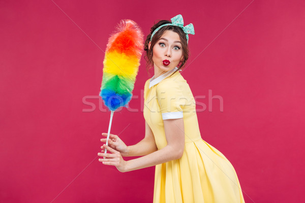 Charming playful pinup girl with colorful cleaning broom Stock photo © deandrobot