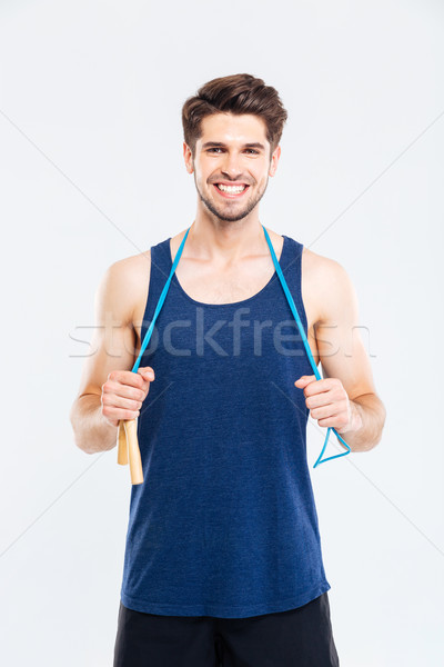 Sonriendo jóvenes masculina atleta pie Foto stock © deandrobot