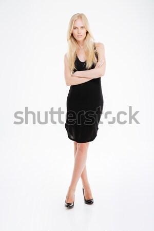 Kobieta czarna sukienka stałego broni fałdowy Zdjęcia stock © deandrobot