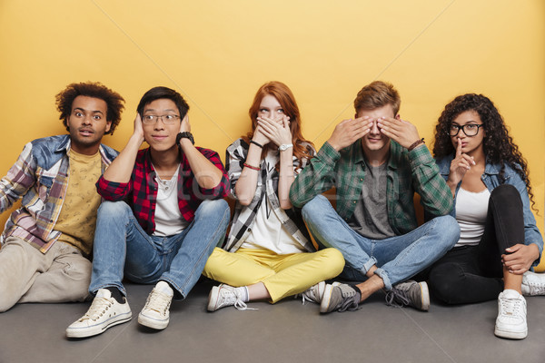 Multiethnic group of funny friends covered eyes, ears and mouth Stock photo © deandrobot