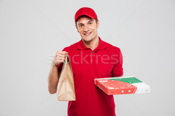 Pizza delivery man with bag Stock photo © deandrobot