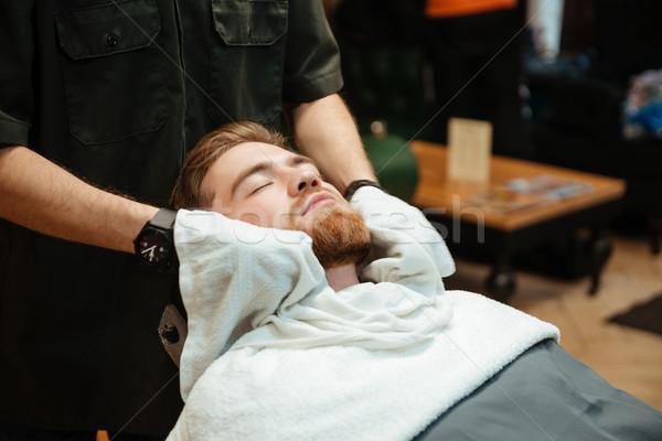 élégant barbu homme barbe salon de coiffure photos Photo stock © deandrobot