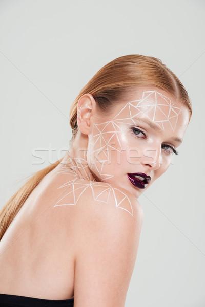 Portret kobieta body art ciemne usta Zdjęcia stock © deandrobot