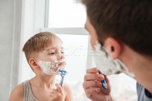 Apa fia fürdőszoba néz egyéb portré vicces Stock fotó © deandrobot