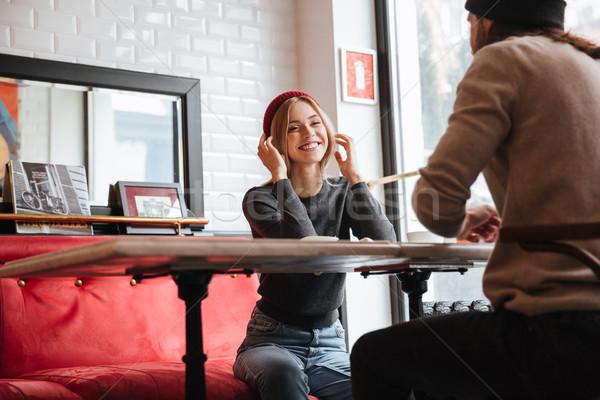 幸せ 女性 話し 男 日付 座る ストックフォト © deandrobot