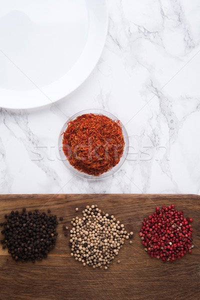 Close up portrait of a variety of spices Stock photo © deandrobot