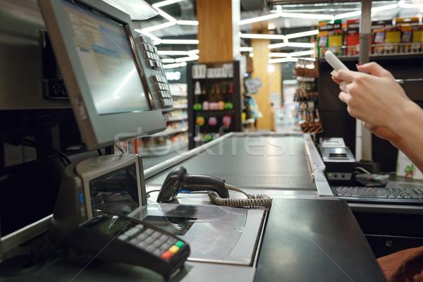 Cashier's desk in supermarket shop Stock photo © deandrobot