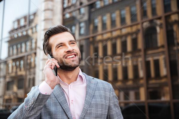 Stok fotoğraf: Portre · adam · ceket · konuşma · cep · telefonu · mutlu