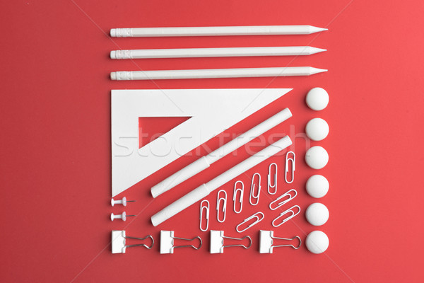 Top view picture of office supplies Stock photo © deandrobot