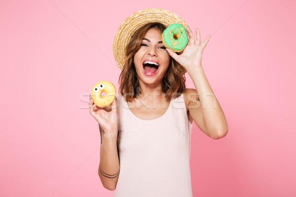 Portré izgatott nő nyár kalap tart Stock fotó © deandrobot