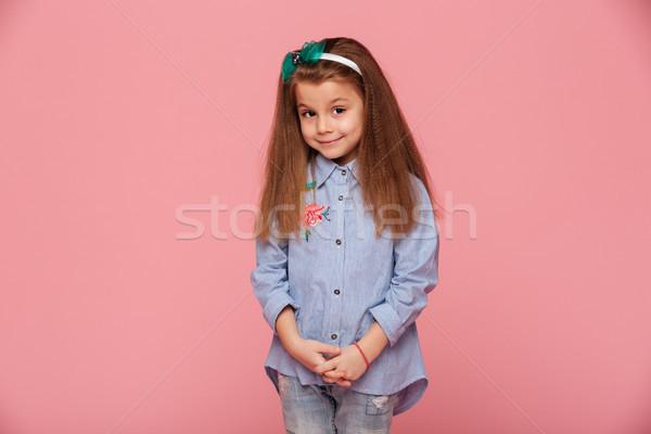 Ritratto cute studentessa anni lungo capelli Foto d'archivio © deandrobot