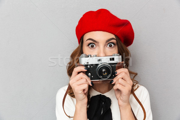 Close up portrait of a surprised schoolgirl Stock photo © deandrobot