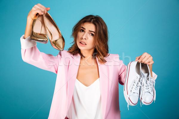 肖像 困惑して 女性 ピンク スーツ ストックフォト © deandrobot