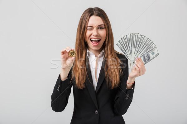 Jeune femme or bitcoin dollars Photo stock © deandrobot