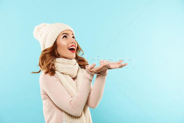 Foto stock: Retrato · feliz · excitado · nina · invierno · ropa