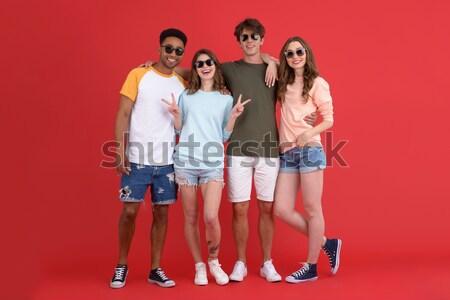 Portré fiatal derűs csoport barátok nyár Stock fotó © deandrobot