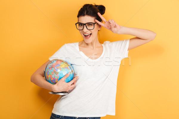 Сток-фото: счастливым · женщину · очки · мира