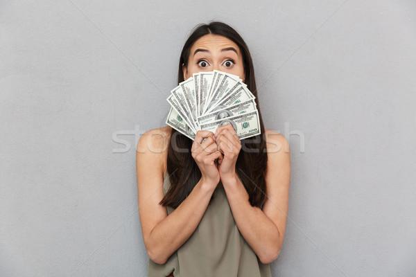 портрет азиатских женщину деньги Сток-фото © deandrobot