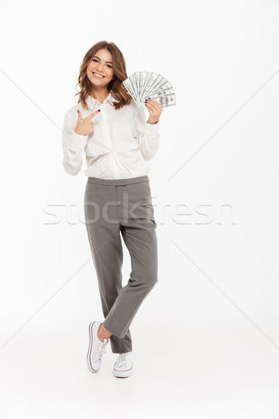 Retrato excitado jóvenes mujer de negocios Foto stock © deandrobot