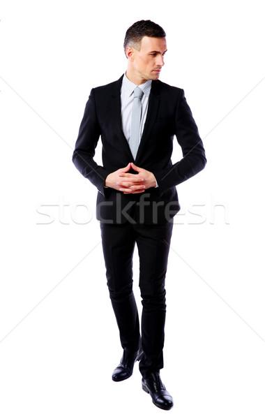 Portret zamyślony biznesmen odizolowany biały strony Zdjęcia stock © deandrobot