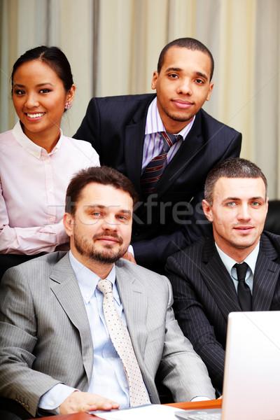 Portré többnemzetiségű üzleti csapat iroda nők megbeszélés Stock fotó © deandrobot