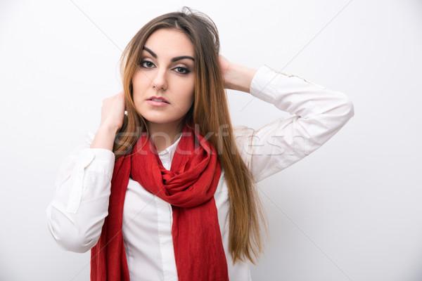 Portrait séduisant jeune femme gris femme cheveux Photo stock © deandrobot