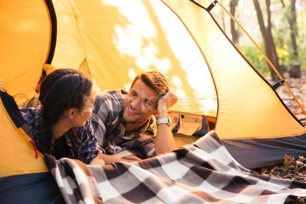 Para namiot portret szczęśliwy lasu charakter Zdjęcia stock © deandrobot