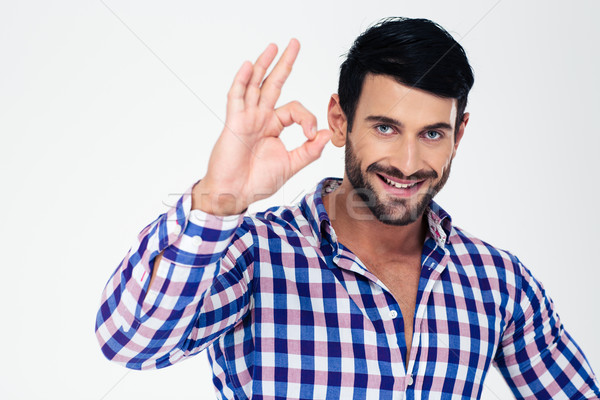 Man showing ok sign with fingers Stock photo © deandrobot