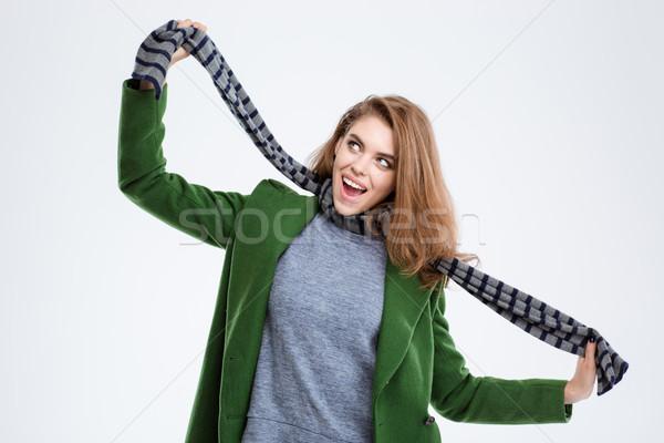 Wesoły kobieta szalik portret funny Zdjęcia stock © deandrobot