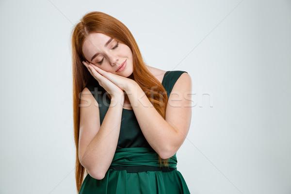 女子 常設 睡眠 肖像 年輕 孤立 商業照片 © deandrobot