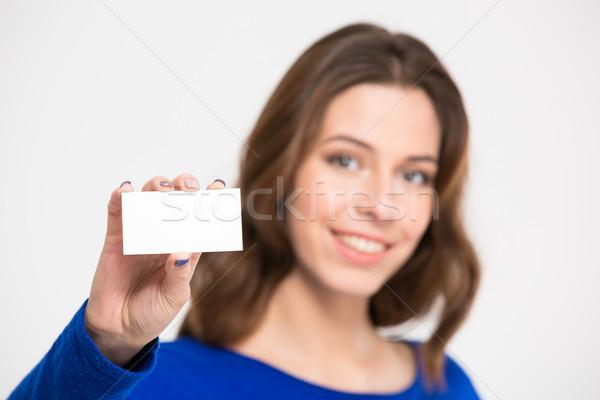 Gülen güzel genç kadın boş kart Stok fotoğraf © deandrobot