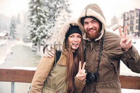 Coppia foto fotocamera pace gesto Foto d'archivio © deandrobot