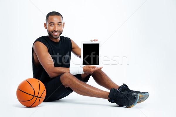 Mutlu adam oturma ekran Stok fotoğraf © deandrobot