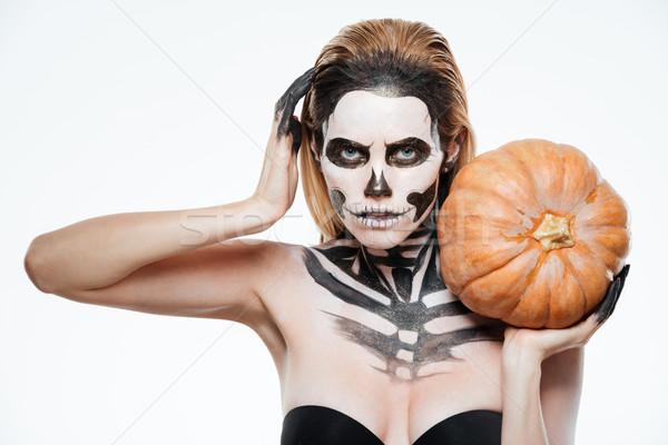 женщину испуганный скелет макияж тыква Сток-фото © deandrobot