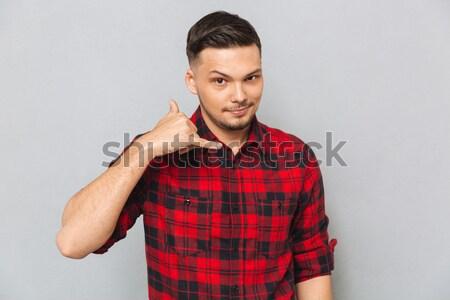 男 シャツ 電話 にログイン 小さな ストックフォト © deandrobot