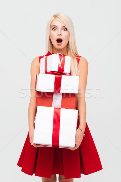 Kobieta czerwona sukienka ciężki Zdjęcia stock © deandrobot