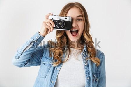 Közelkép portré fiatal vonzó nő kamera retro Stock fotó © deandrobot
