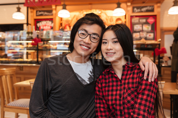 Stockfoto: Vrolijk · asian · jonge · liefhebbend · paar · vergadering