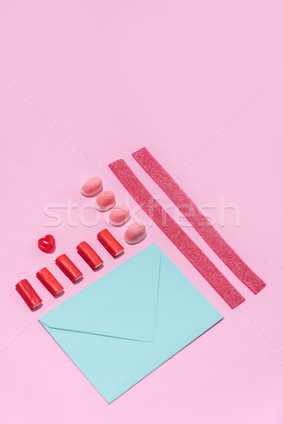 Kép zselé cukor cukorkák csetepaté üres papír Stock fotó © deandrobot