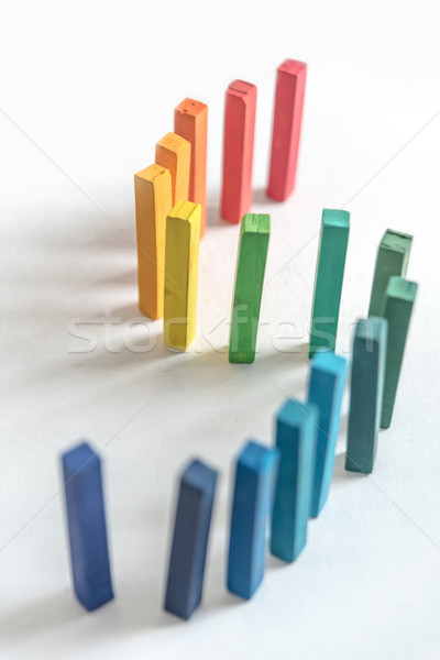 Set of standing square colorful pastel chalks with rainbow gradi Stock photo © deandrobot