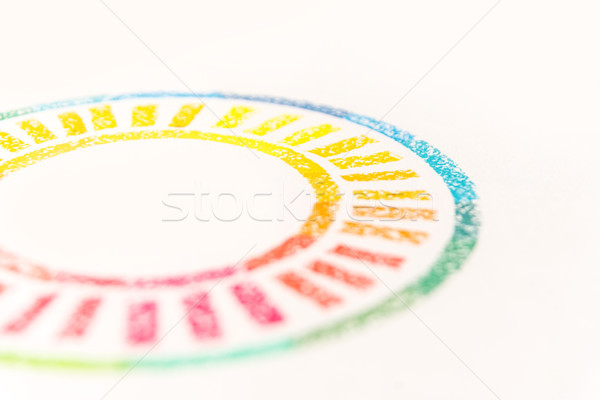 Cropped photo of circle drawn with colored pastel chalks, Stock photo © deandrobot