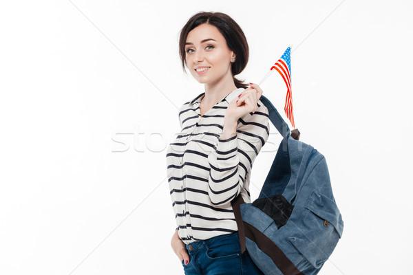 Retrato jóvenes sonriendo mochila Foto stock © deandrobot