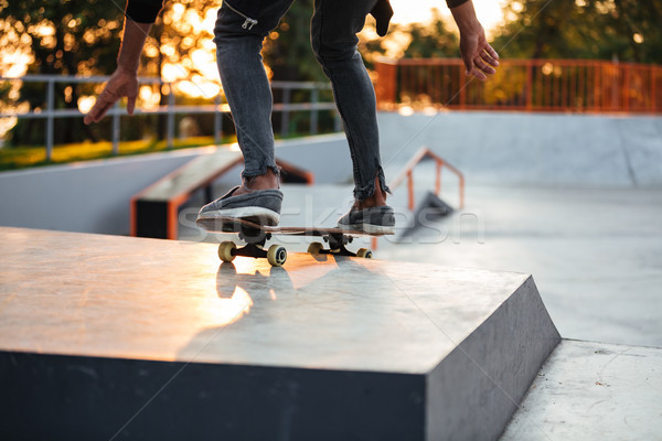 Stock photo: Cropped image of a skater boy practicing