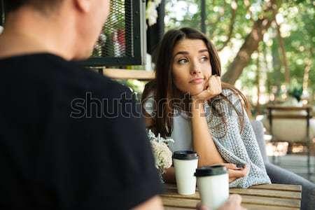 Confusi mano guardando fidanzato Foto d'archivio © deandrobot