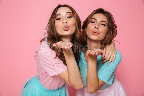 Dos atractivo brillante maquillaje Foto stock © deandrobot