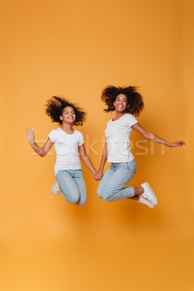 Full length portrait of a two cheerful afro american sisters Stock photo © deandrobot