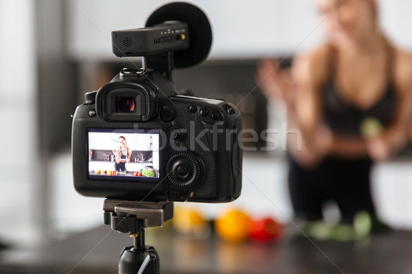 Close up of a camera recording healthy food tutorial Stock photo © deandrobot