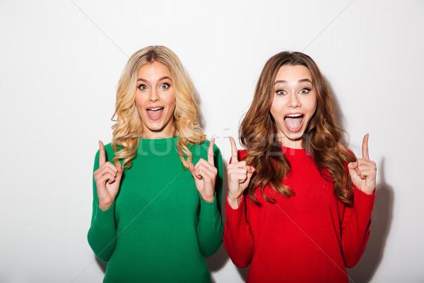肖像 二 女孩 常設 指向 商業照片 © deandrobot