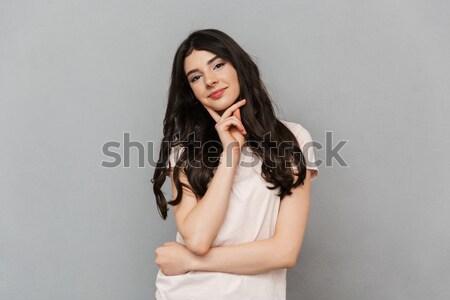 Immagine magnifico bruna femminile modello capelli lunghi Foto d'archivio © deandrobot
